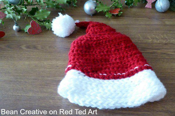 Finger Knitting Santa Hat Project Finger Knitting Santa Hat And
