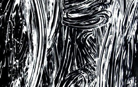 Timo Partanen, Puutarha II, 2015, tussi ja gesso, 200 x 150 cm