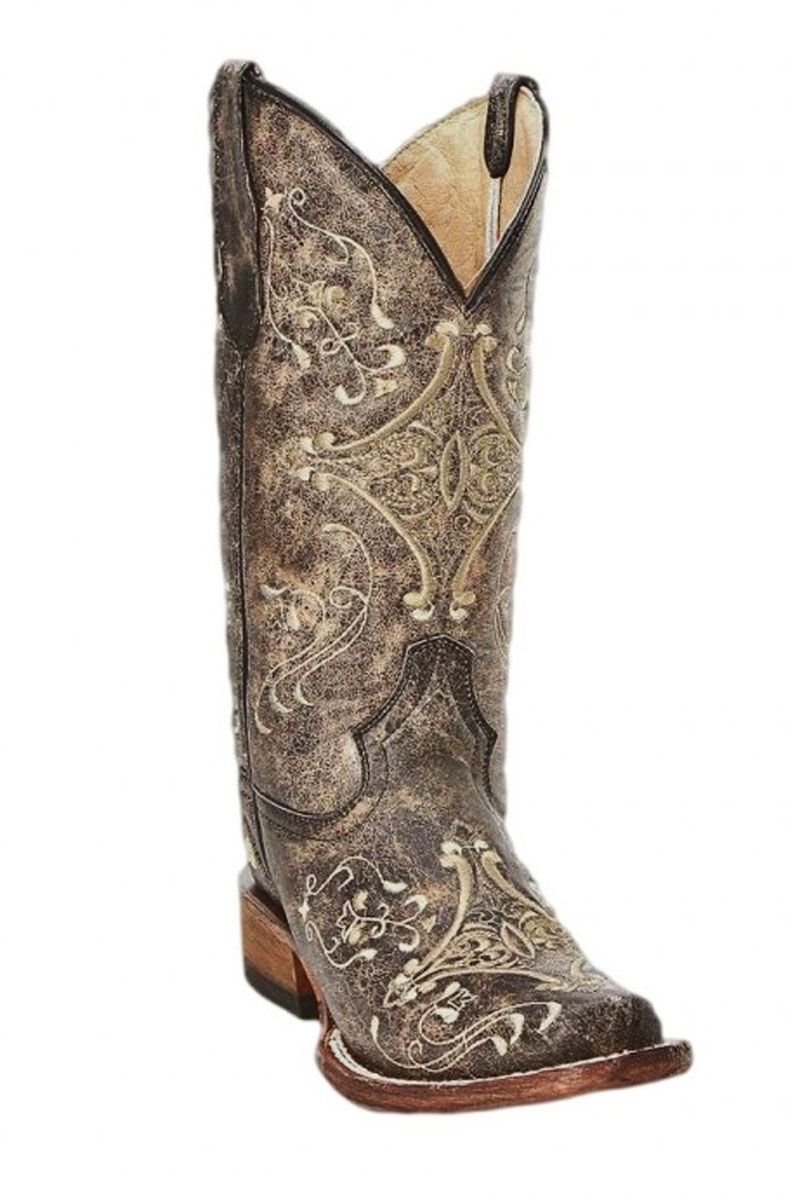 6fec2664025 Corral Circle G Brown Crackle/Bone Embroidery Square Toe Cowgirl ...