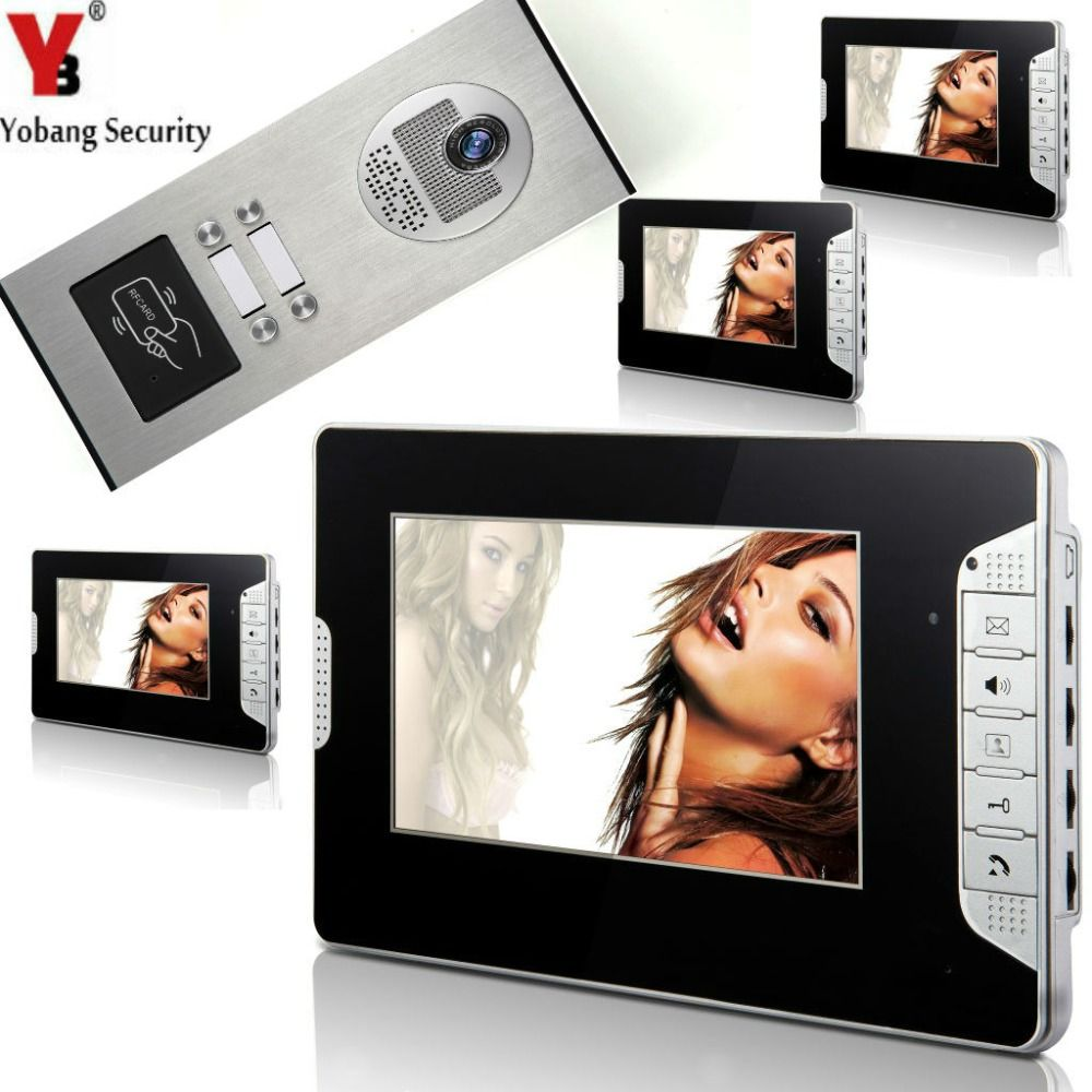 Yobangsecurity 4 Units Apartment 7inch Wired Video Door Phone