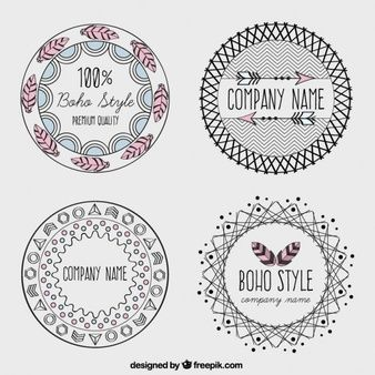Logotipos dibujados a mano de estilo boho