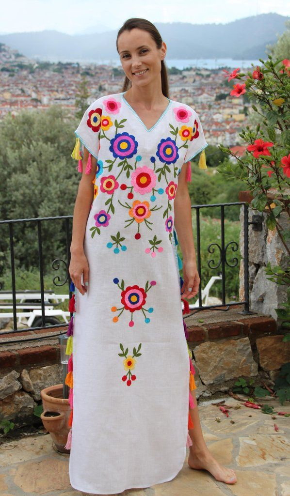 0c9ce96e55 White multi-color Floral hand Embroidered Linen Folk tassels Maxi caftan  style Dress. Sizes - XS-XXL 003 ready to ship