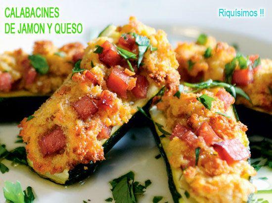 calabacines rellenos de jamón, queso y huevo
