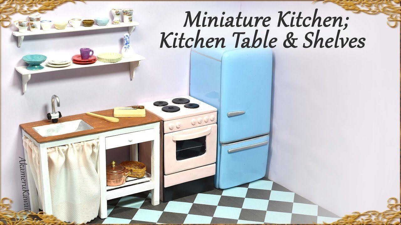 Miniature Doll Kitchen Table W Zink Shelves Wood Polymer Clay Tu Miniature Kitchen Doll House Miniature Dollhouse Furniture