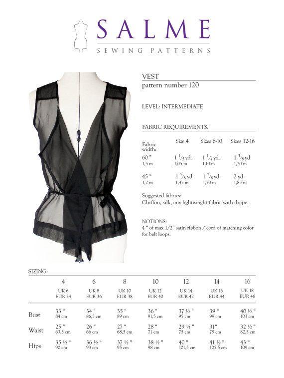 Vest PDF Sewing pattern