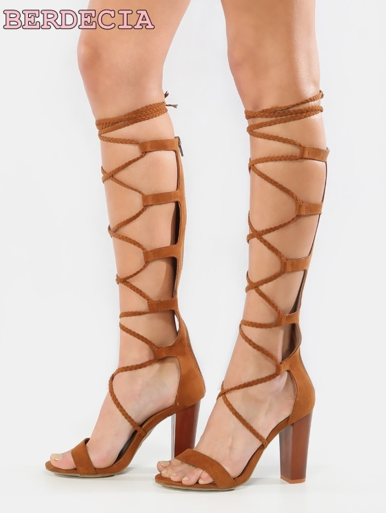 90.00$  Watch now - http://alimdu.shopchina.info/go.php?t=32803773432 - summer new arrival lace up sandal boots brown suede open toe shoes sexy crisscross strappy sandals  back zipper women long boots  #buyonline