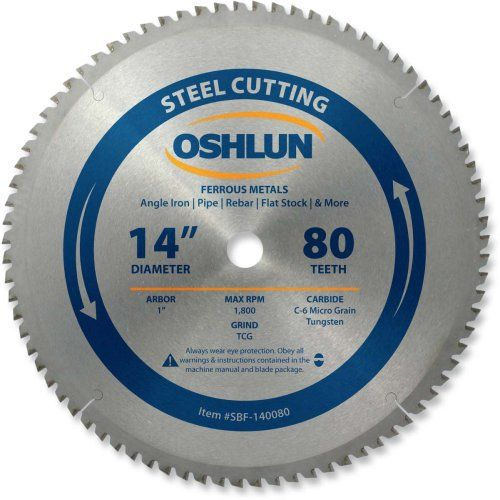 Oshlun Sbf 140080 14 Inch 80 Tooth Tcg Saw Blade With 1