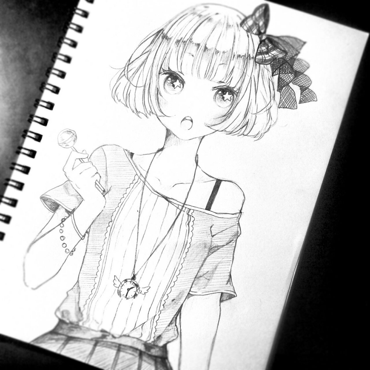 Anime art ✮ anime girl short hair hair bow necklace jewelry cute fashion lollipop pencil drawing sketch graphite