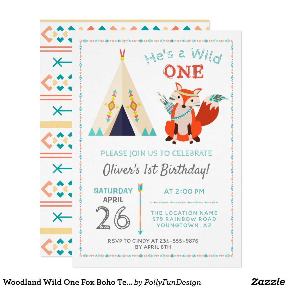 Woodland Wild One Fox Boho Teepee Boy1st Birthday