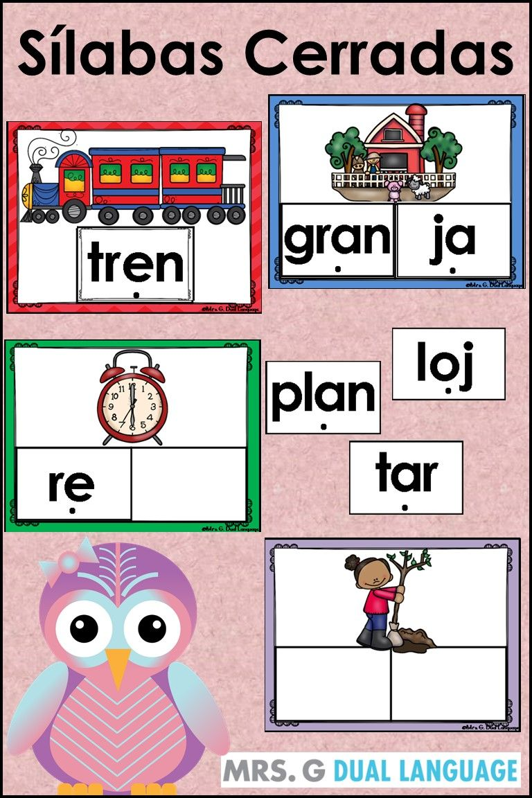 Closed Syllables Word Work In Spanish Great Spanish Literacy Center Activities For Students In Biling Bilingual Teaching How To Speak Spanish Spanish Students