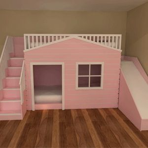 Playhouse Bunk Beds with slide Available in a variety of colours and designs with or without a slide This can also be ordered unpainted ready for y… | Pinteres…