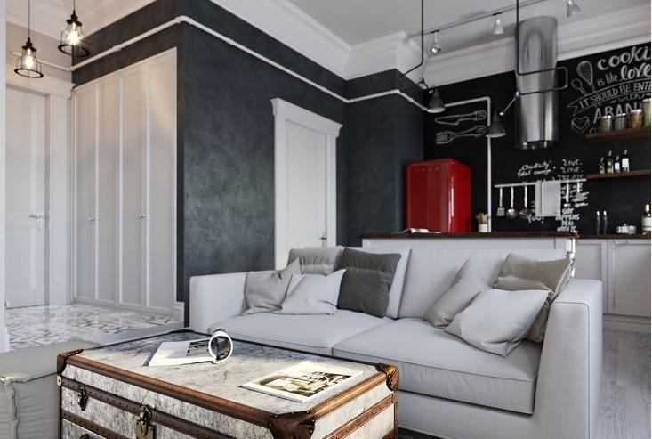 Salones cocina integrada con pintura de pizarra pintura de pizarra - Pintura para salones modernos ...