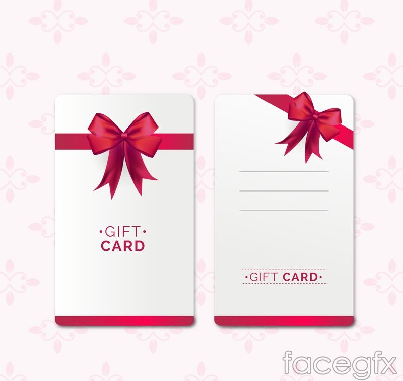 Gift Voucher Template Free Download Red Bow Gift Card Vector  Free Vectors  Pinterest  Advertising Design