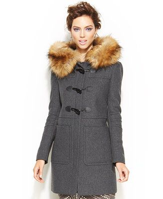 BCBGeneration Faux-Fur-Trimmed Toggle Duffle Coat - Macy's  #sponsored