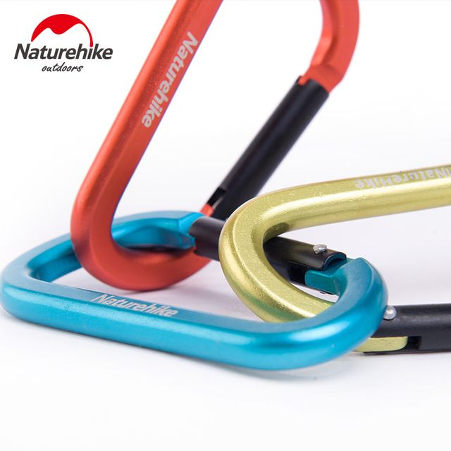 Naturehike 3 pcs D Shape 8CM  Buckle Aluminum Alloy Climbing Carabiner Hanging Keychain Hook Outdoor Camping Equipment Tool