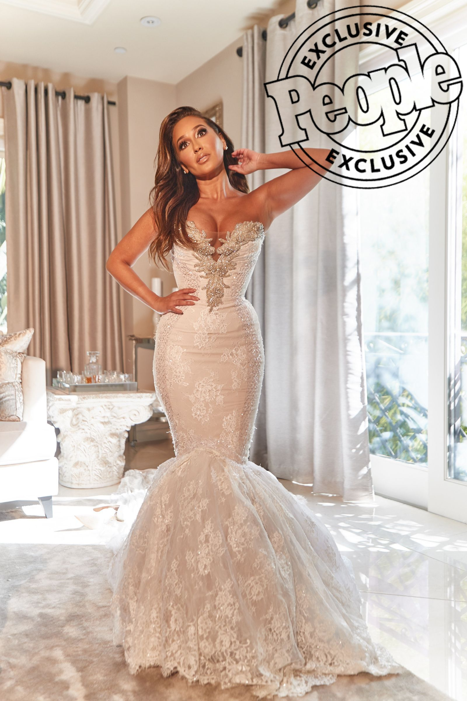 Adrienne Bailon Houghton Rewears Unaltered Wedding Dress 3 Years Later It Fit The Exact In 2020 Celebrity Wedding Dresses Wedding Dresses Corset Fitted Wedding Dress