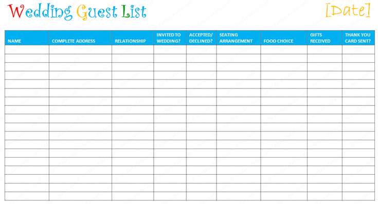 create and track your wedding guest list with these free templates