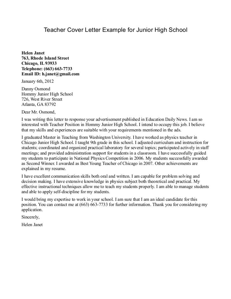 Teacher cover letter examples cover letter format for for Writing a cover letter for college admissions