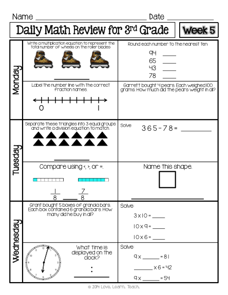 Six Week Set Of Spiral Daily Math Review For 3rd Grade Available Now Time Money And Paper Saver One Sheet Daily Math Math Spiral Review 3rd Grade Math