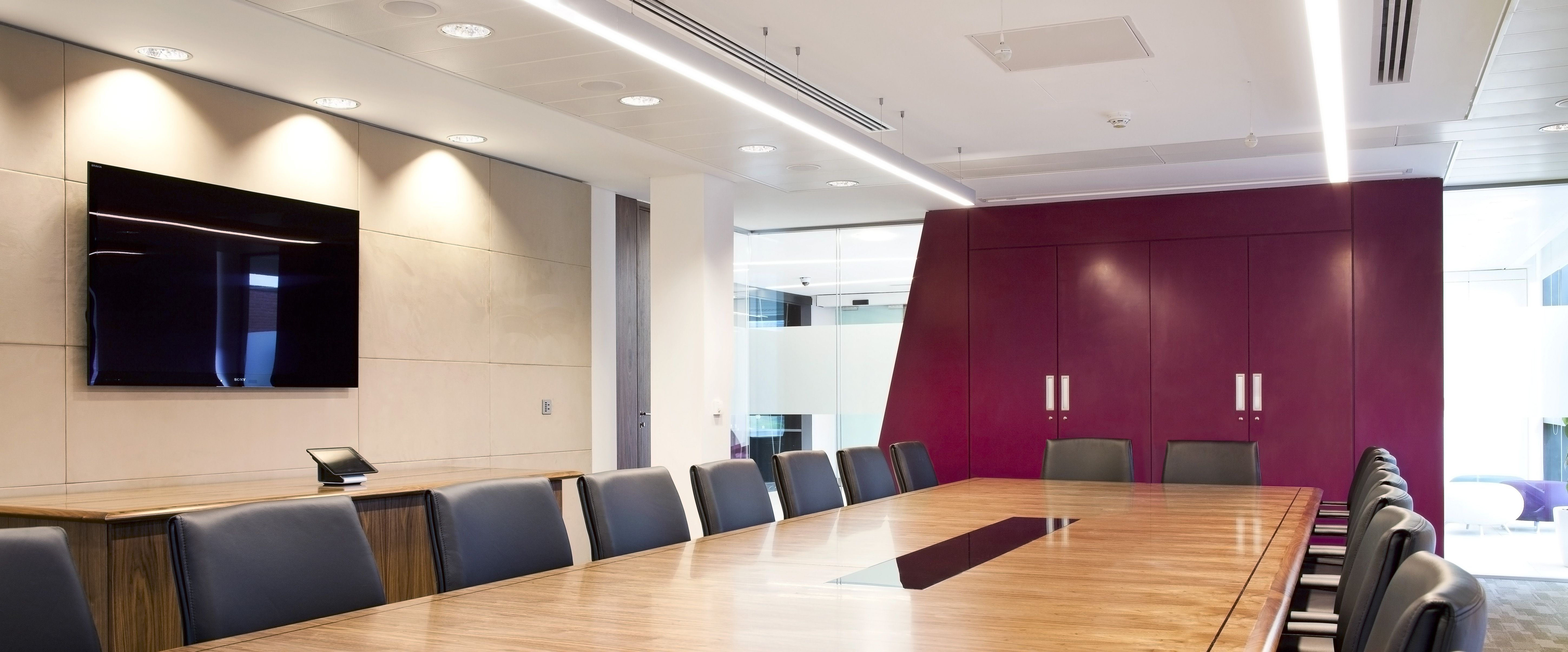 Interior Designs,Remarkable Office Meeting Room With Long Rectangular  Meeting Table On Combined Luxury Black