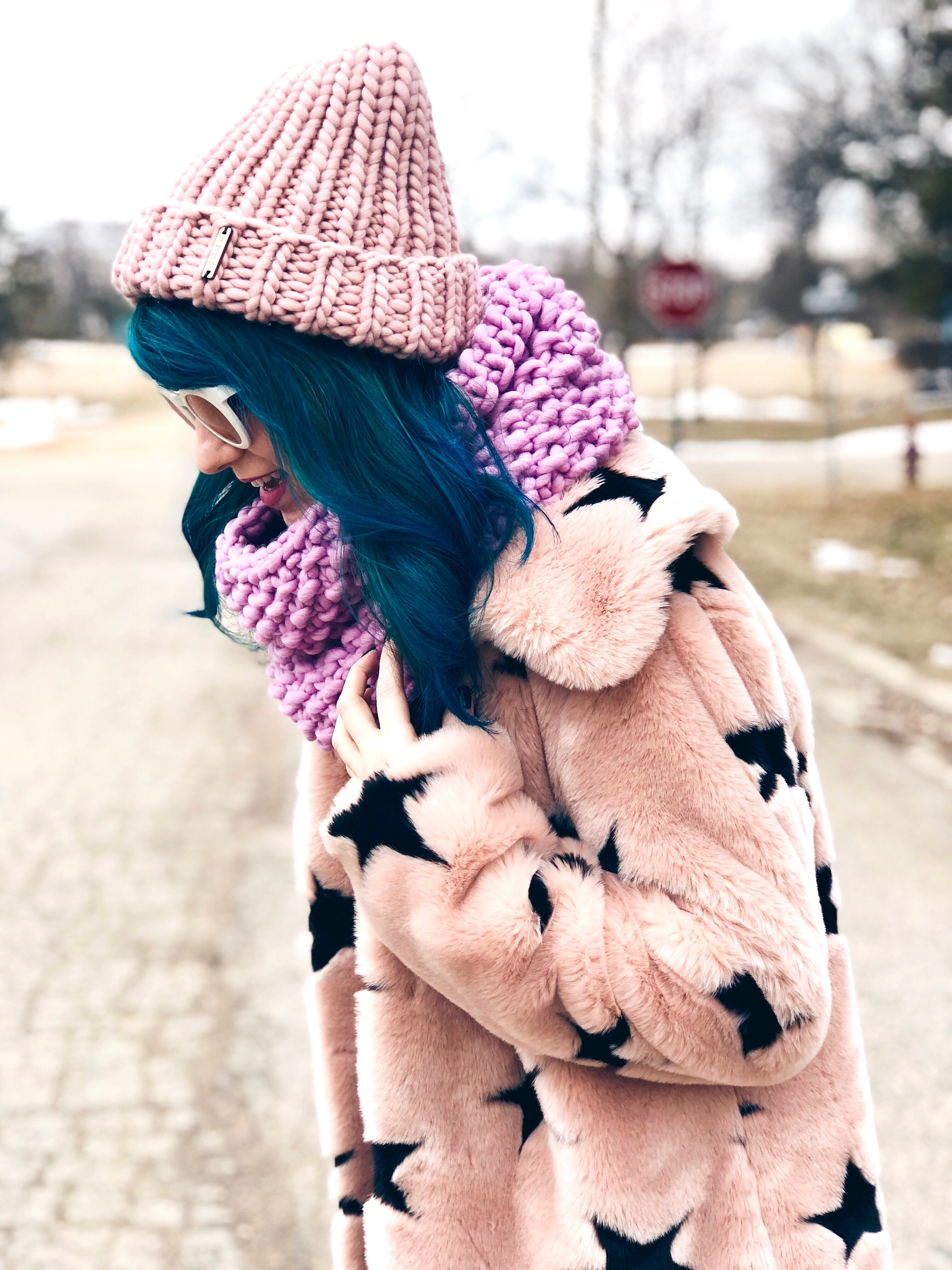 Pastel merino wool knitwear.  Nickichicki Bubble Fluff Cowl And Ribbed  Beanie. Women s winter fashion style 2018. Fun kawaii style outfit. b9218d7e229f