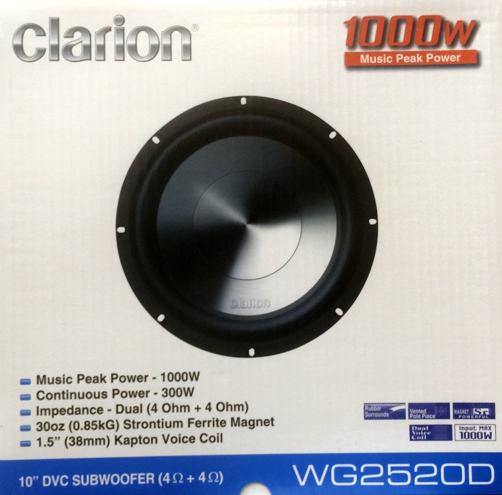 car subwoofers new clarion wgd wg series dual ohm car car subwoofers new clarion wg2520d 10 wg series dual 4 ohm car audio subwoofer buy