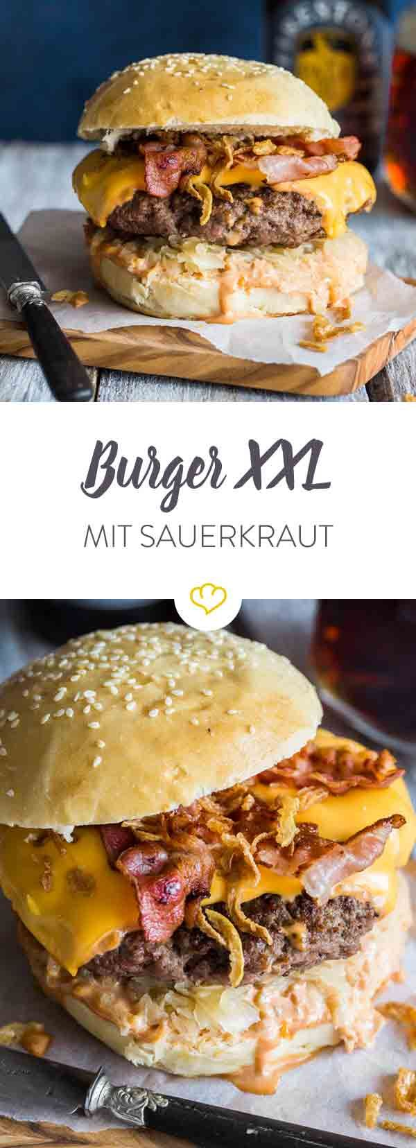 Photo of Burger XXL mit Sauerkraut und Bacon