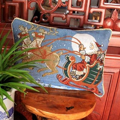 Santa in Sleigh Tapestry Style Cushions Covers removable for washing Filled with 100% Australian Alpaca Fibre