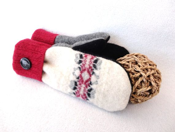Felted Wool Mittens RED, CREAM & BLACK Nordic / Fair Isle Eco-Friendly Sweater Mitts Fleece Lined Mittens by WormeWoole