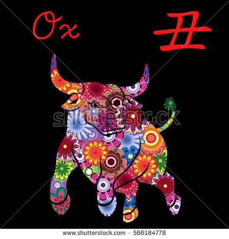 Chinese Zodiac Sign Ox Fixed Element Earth Symbol Of New Year On