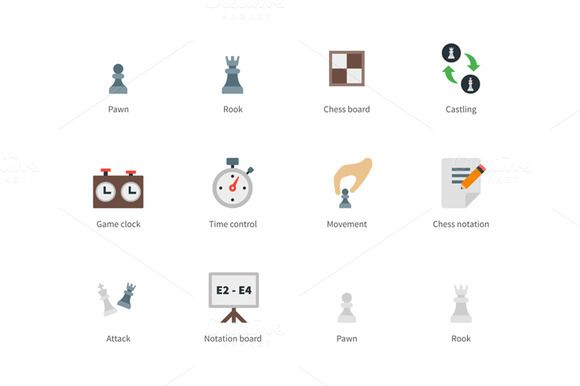 Chess colored icons by Brothers Good on @creativemarket