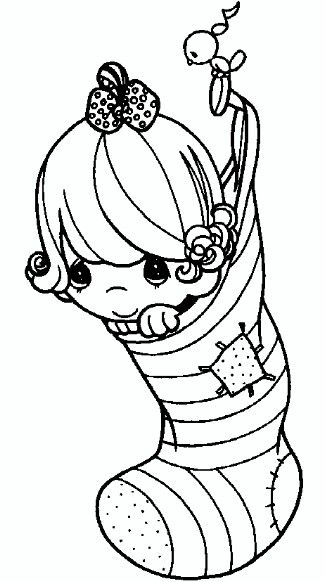 stocking  precious moments coloring pages christmas