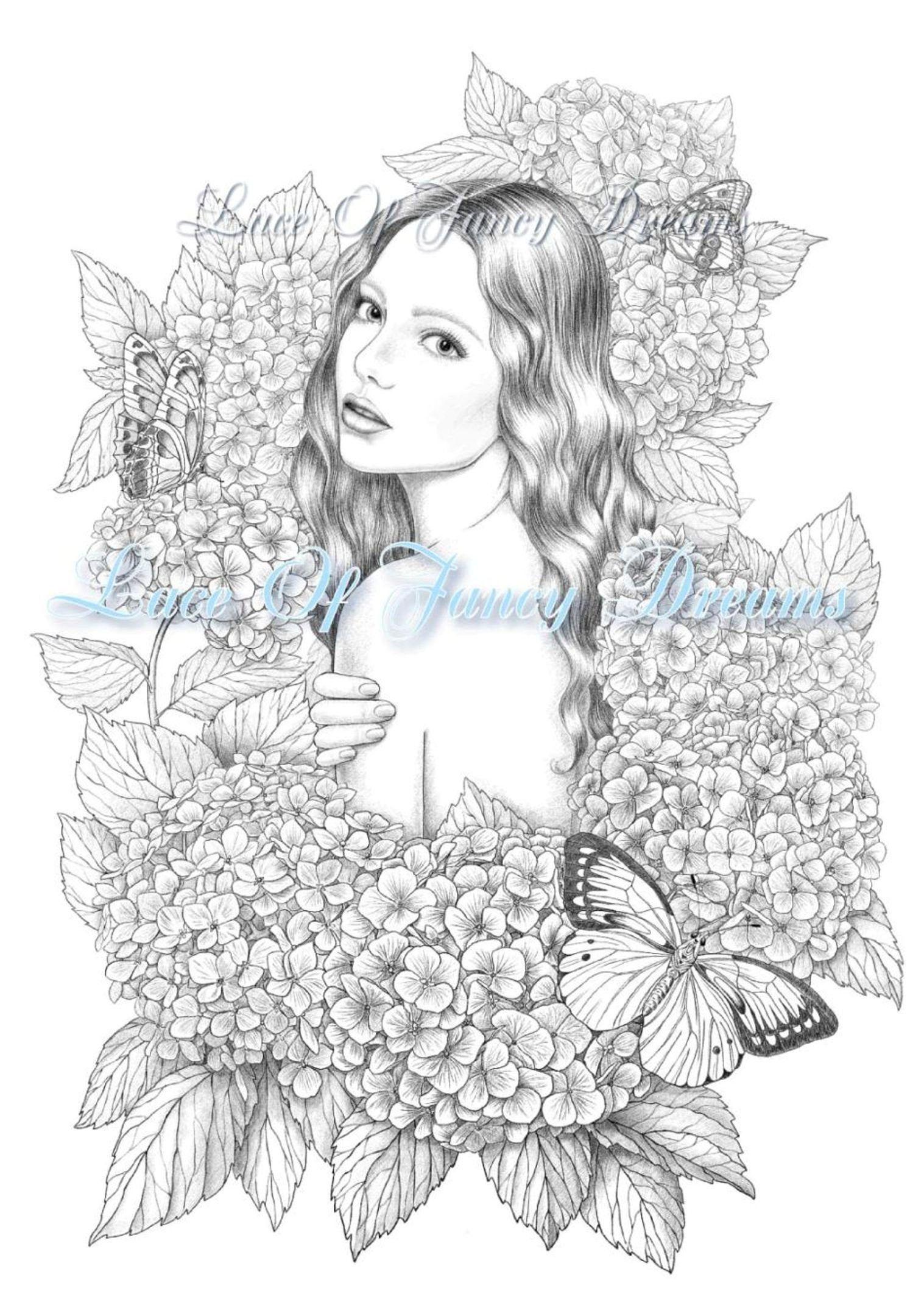 Hydrangea coloring page pdf beautiful woman coloring sheet ...