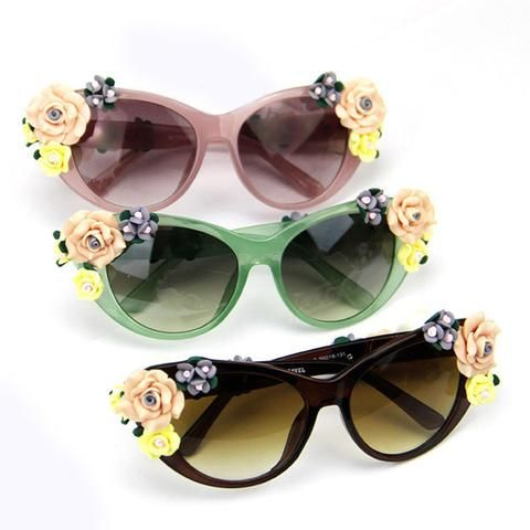 Fashion Oversized Women's Girls Sunglasses Retro Decor Floral Flower UV Glasses