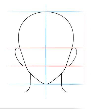 Como Desenhar Rosto de Anime Masculino De Frente Passo a Passo