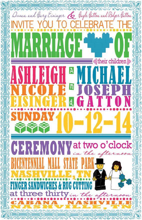 Hand drawn Lego Mini Figure Bride and Groom Wedding Invitations ...