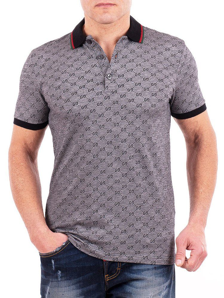 773df2f19c3 Gucci Polo Shirt, Mens Gray Short Sleeve Polo T- Shirt GG Print All Sizes  (L) #affiliate