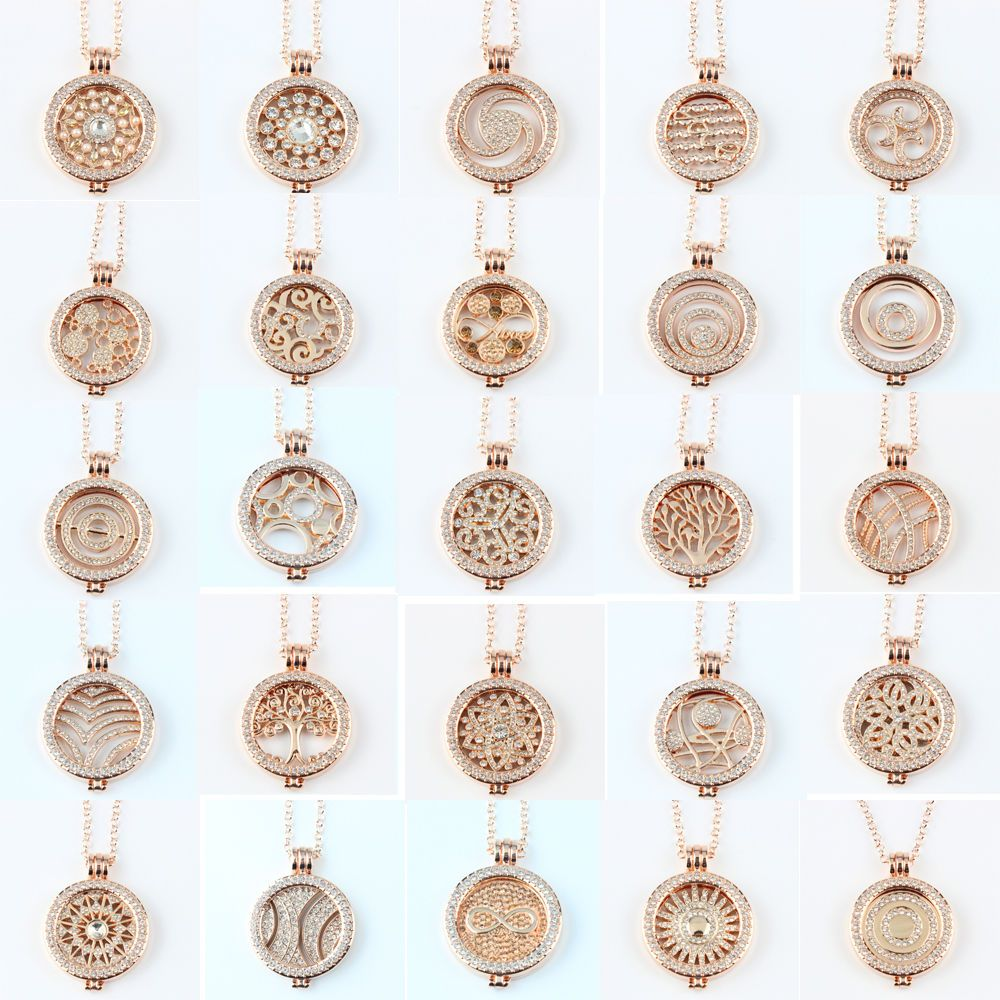18K Rose Gold Women Interchangeable DIY Coin Pendant Necklace with