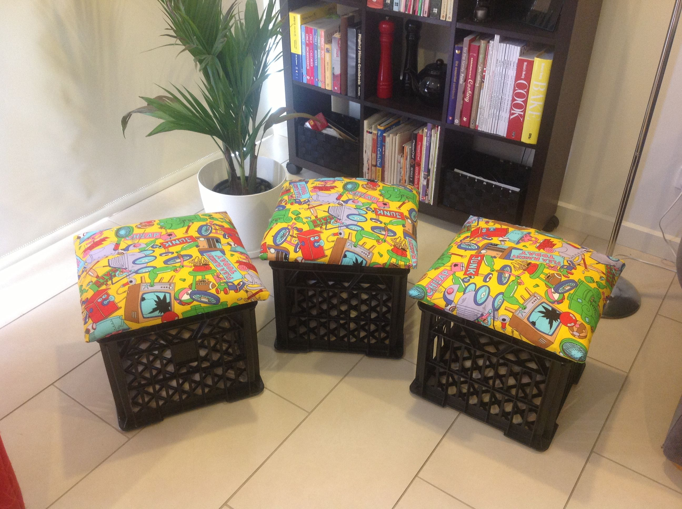 Diy Milk Crate Seats With Images Crate Stools Crate Seats Milk Crate Seats