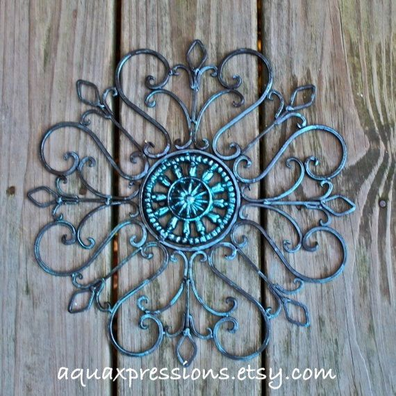 Metal Wall Decor /Blue Topaz /Distressed Patio Decor /Painted