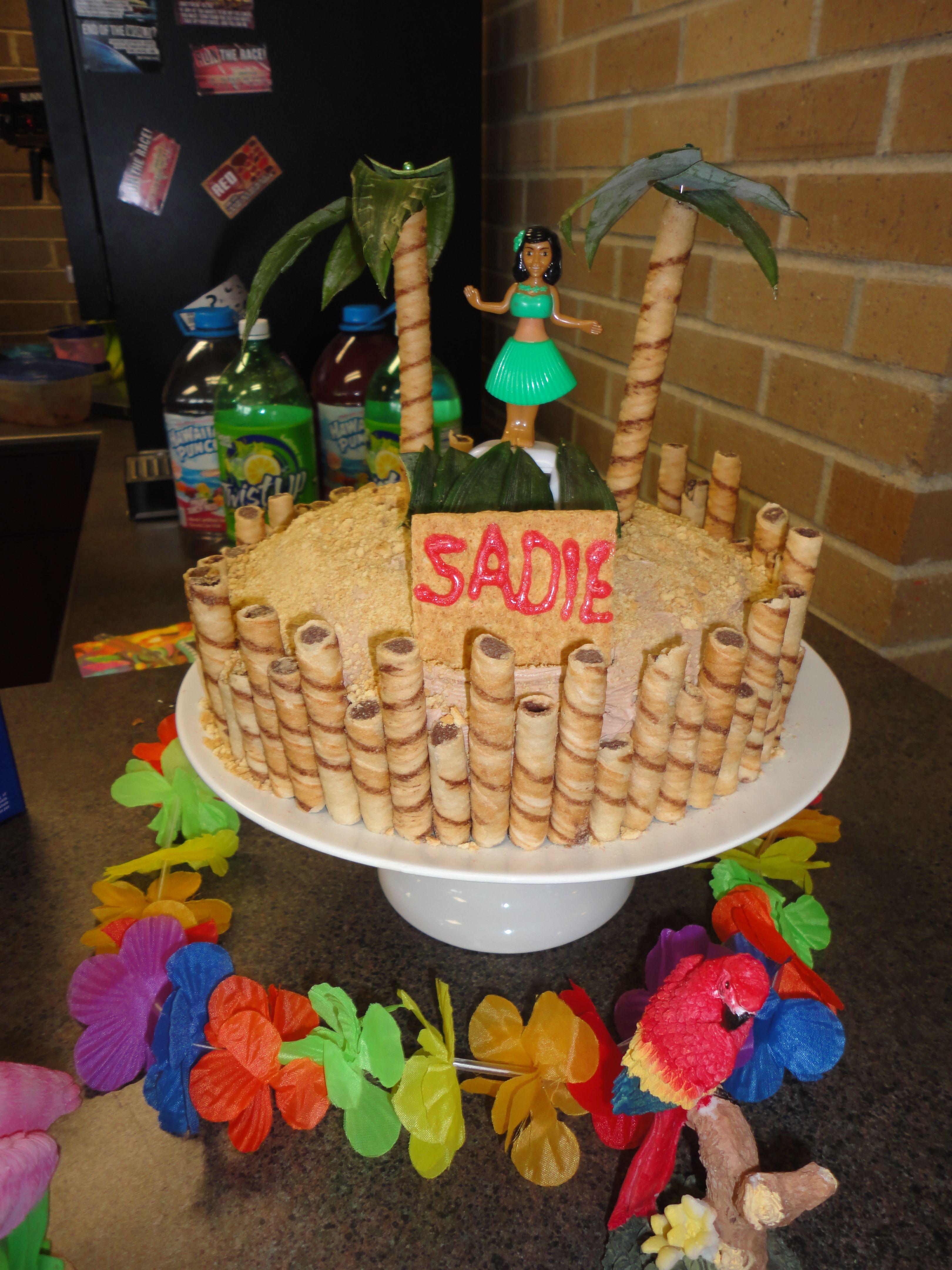 Luau cake 2 nine inch round cake pans crushed graham