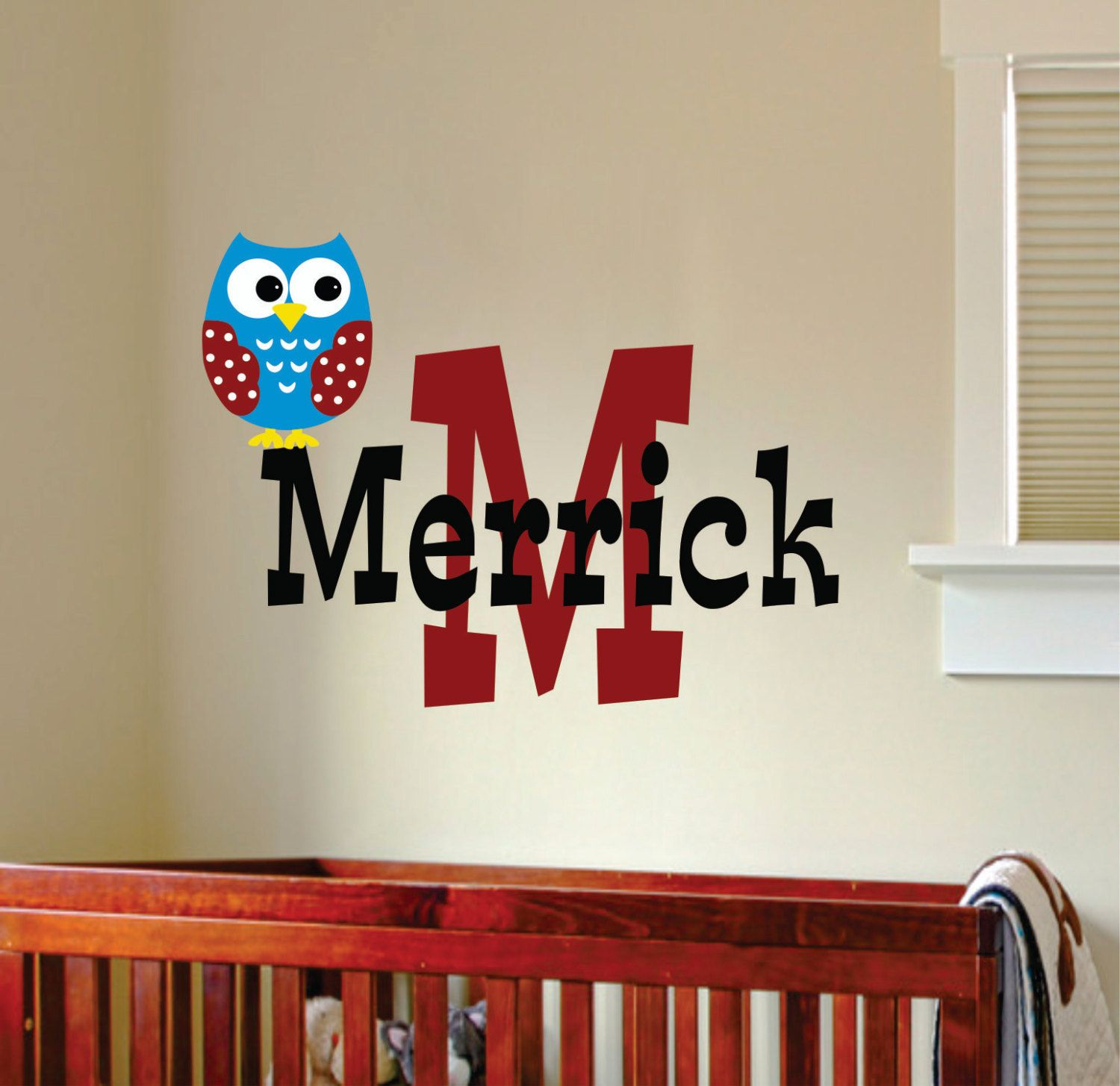 Childrens Decor Owl Wall Decal Baby Boy Name Wall by ...