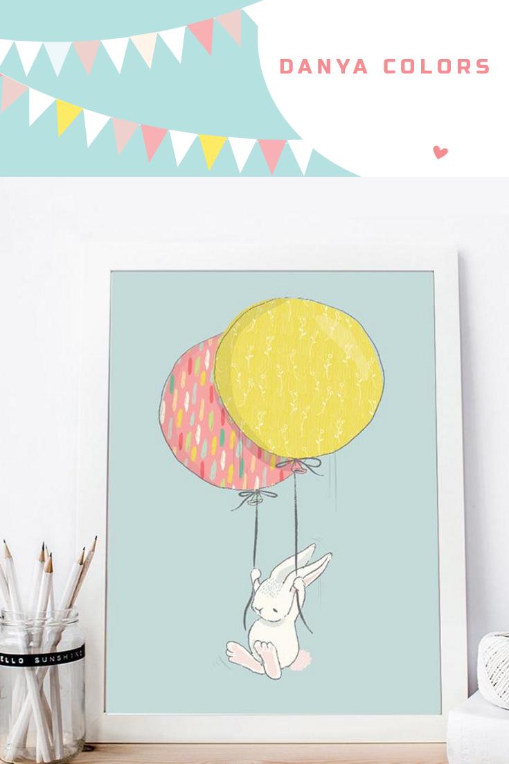Cartoon Animal Rabbit Bunny Balloon Cup Poster Wall Art Canvas ...