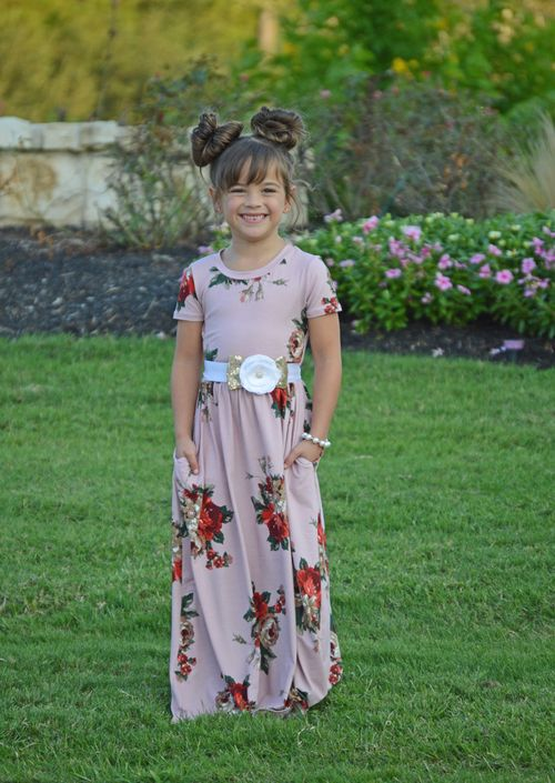 a729ff346 Girls Oh So Lovely Floral Cap Sleeve Maxi Dress Mauve