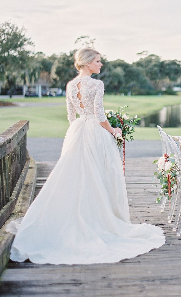 b2798bf476402 A Charleston winter wedding styled shoot by Paula Player Photography. See  more gorgeous photos here....  intimateweddings.com  weddingdress  lace    ...