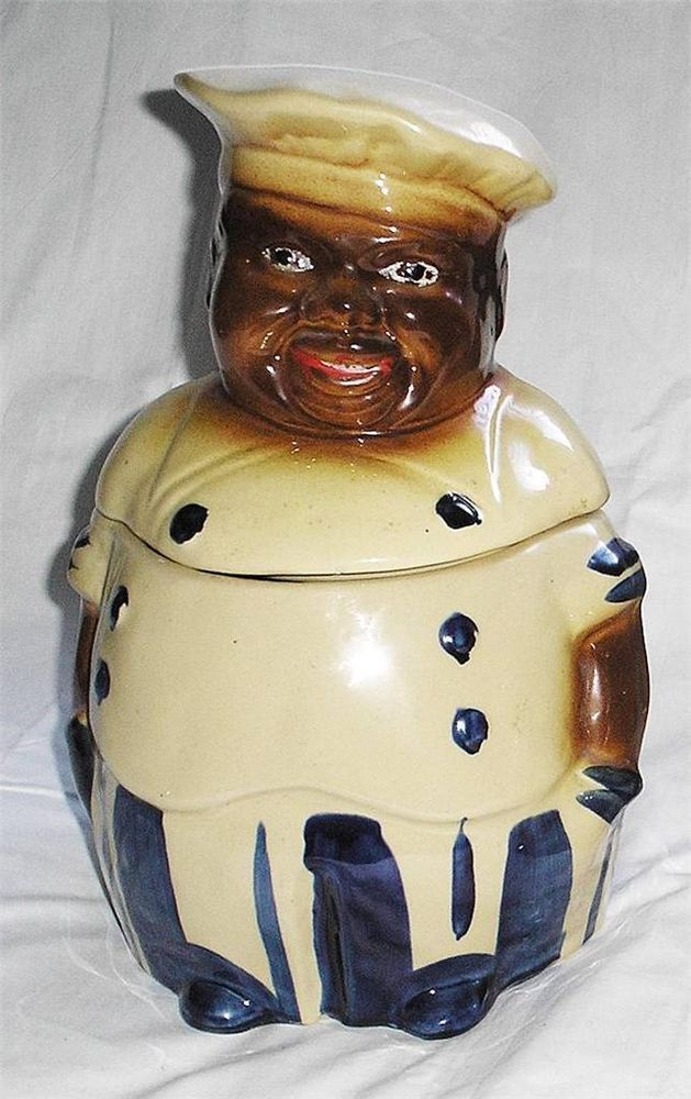 Vintage Black Americana African American Chef Cookie Jar National Silver Company