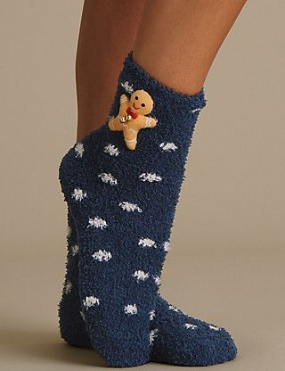 www.marksandspencers.com 3D Effect Christmas Bedsocks, Snowman & Gingerbread Man £5.00 a pair