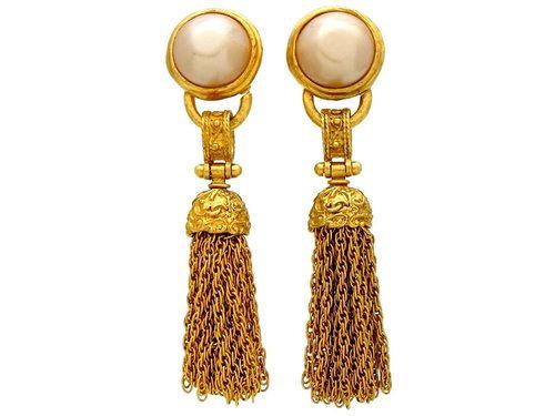 Vintage Chanel earrings pearl fringe tassel dangle