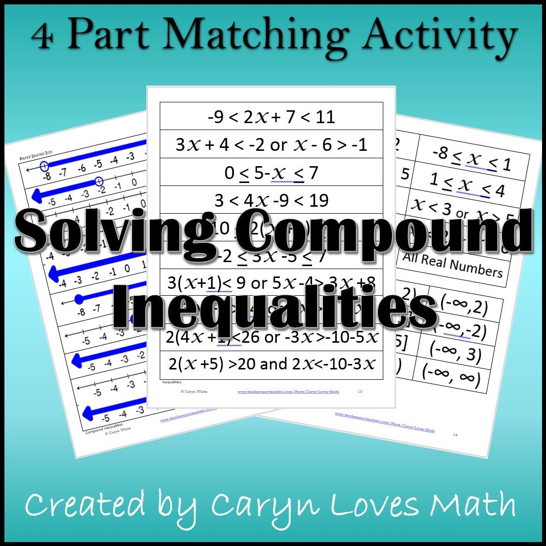 Compound Inequalities Interval Notation Matching Activity