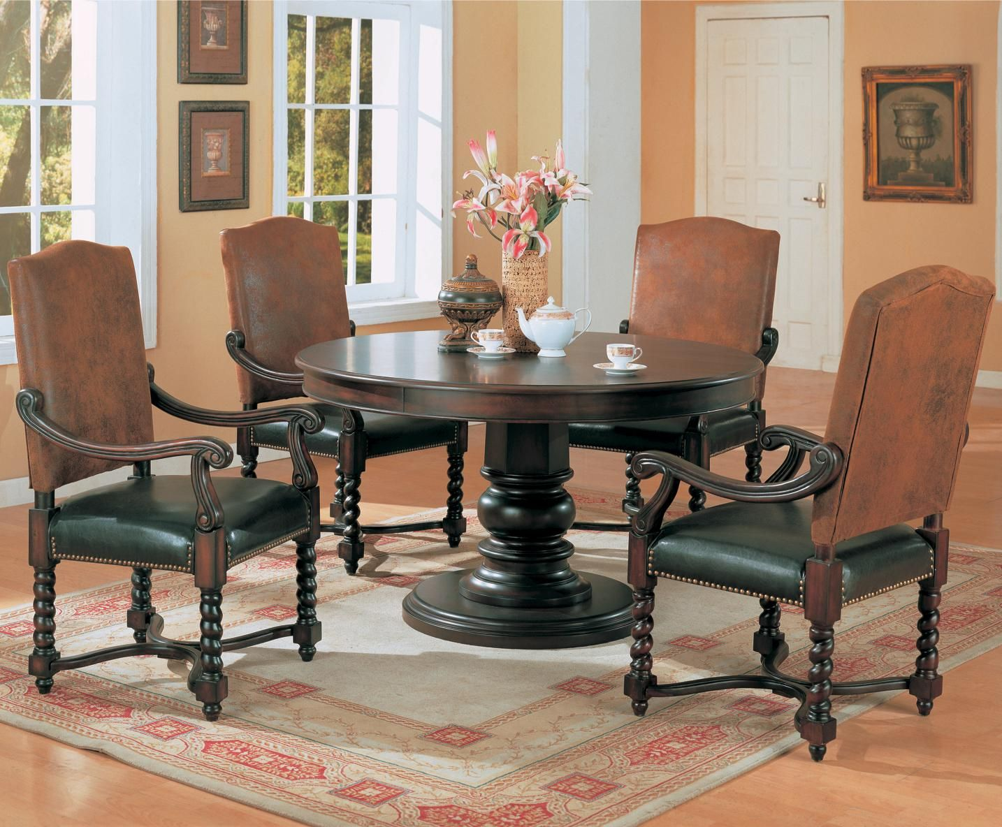 Dining Room Delightful Set Furniture For Decoration Using Black Wood Round Pedestal Tables Along With Leather Chair Pads